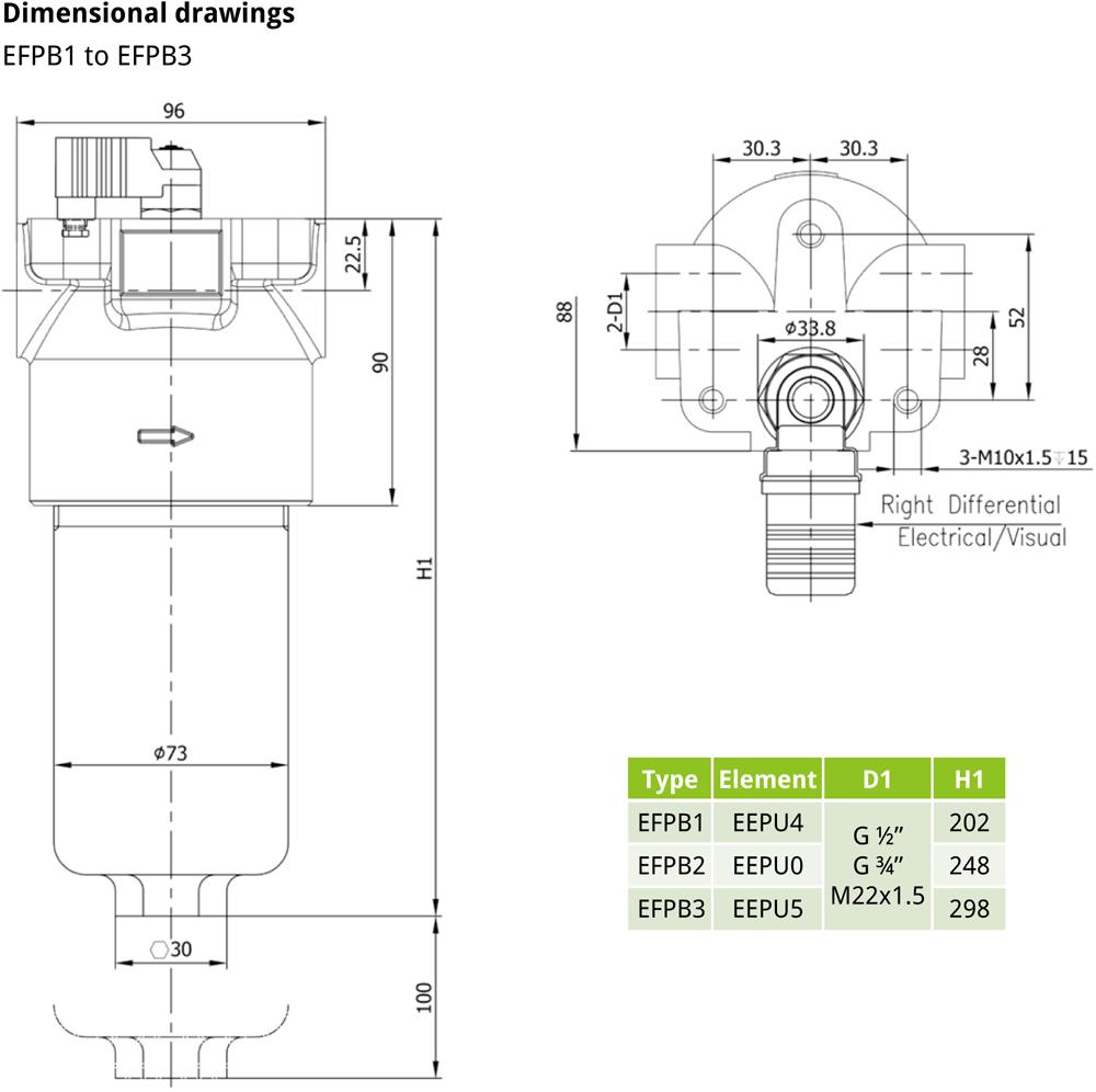 EFPB EVOTEK Pressure Filter Drawing