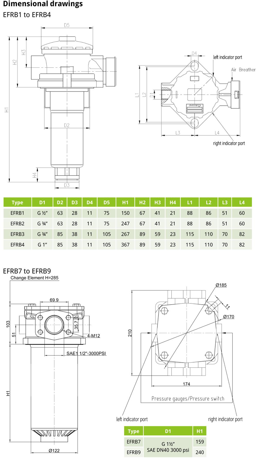 EFRB EVOTEK technical drawings