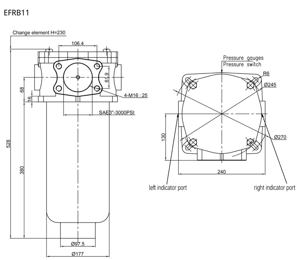 EFRB Evotek return line filter drawing
