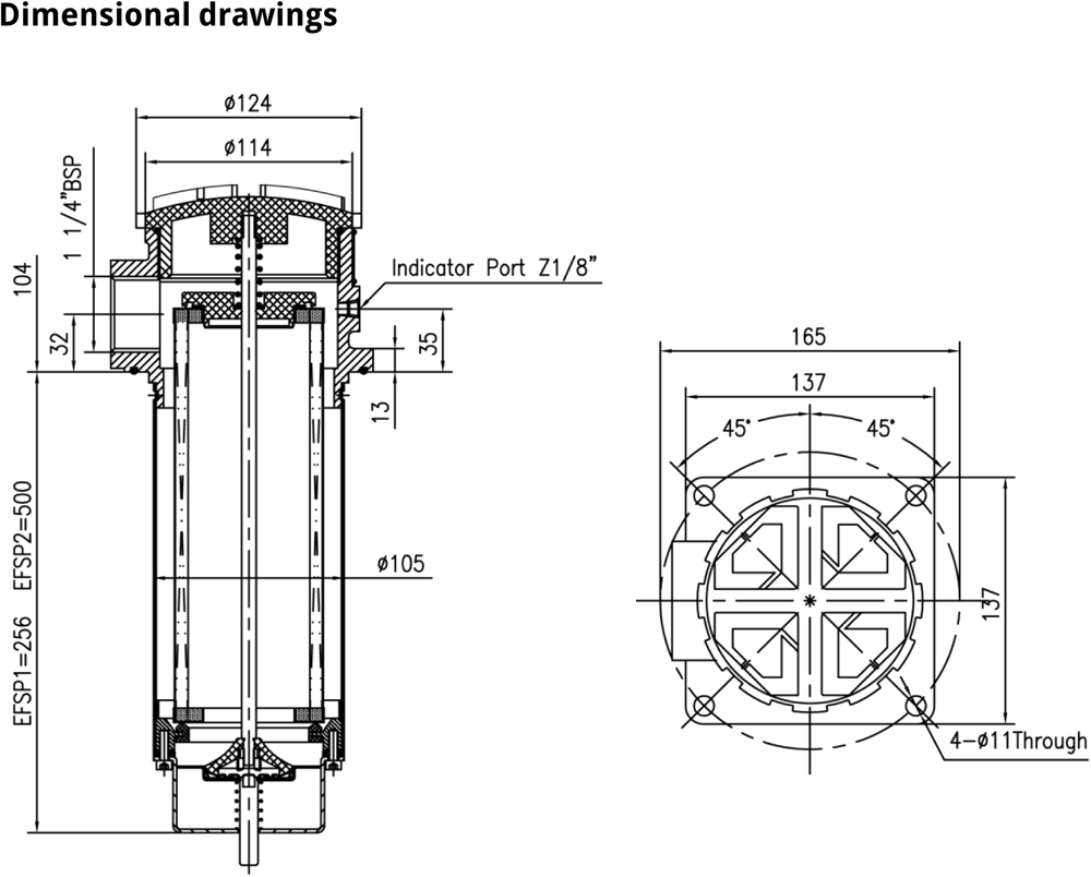 EFSP suction filters technical drawing