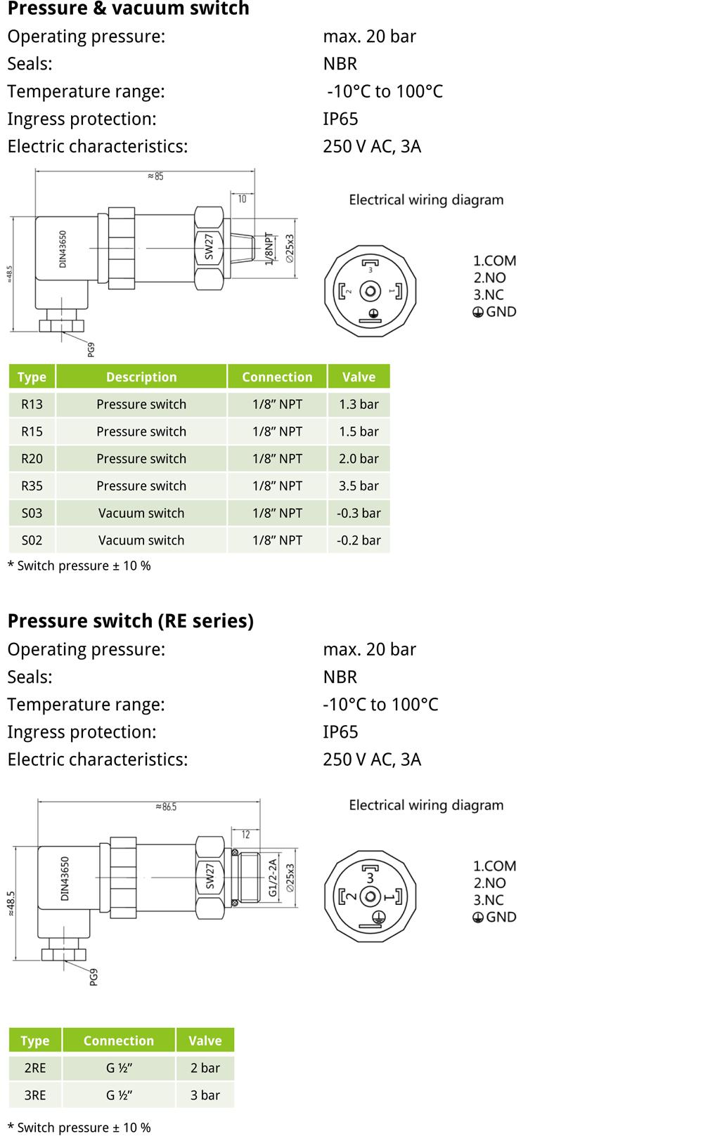 EVOTEK pressure and vacuum switch